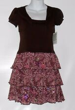 Bonnie Jean Girl's Sequin Trim Tiered Dress With Attached Jacket Brown Ten (10)