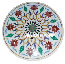 "24"" White Marble Coffee Side Table Top Jasper Inlay Pietradure Work Home Decor"
