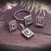 Blue Topaz Ring Earrings Pendant Jewelry Set-Art Deco Cluster Jewelry-Boho Set