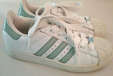 Womens Adidas Vtg Superstar Sz 7.5  Sneaker Shoes white/mint green 3 Stripes EUC
