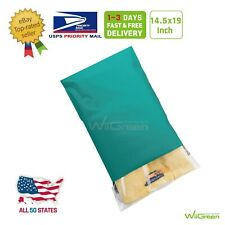 1 150 145x19 Green Poly Mailers Clothing Envelopes Plastic Shipping Bags 25mil