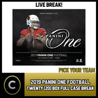 2019 PANINI ONE FOOTBALL 20 BOX (FULL CASE) BREAK #F423 - PICK YOUR TEAM
