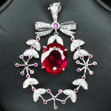 PINK RASPBERRY TOPAZ PENDANT OVAL 20.10 CT. RUBY SAPPHIRE 925 STERLING SILVER