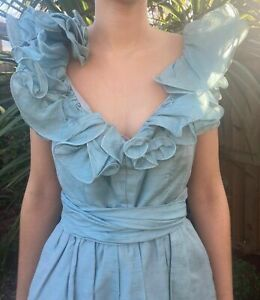 Vintage greenish blue sundress ball gown size 6-8 ruffle neck lined