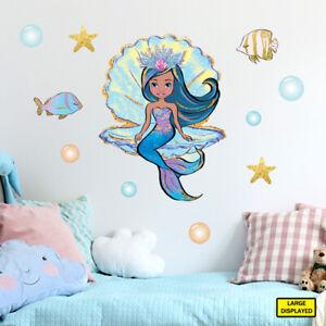 Mermaid wall stickers decals kids girls sea ocean fairytale bedroom merm5.a.