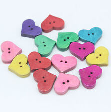 60 Mixed Heart Shape 2 Holes Wooden Fit Sewing Scrapbooking Buttons 20x16x4mm H5