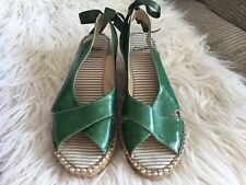 Clarks Forest Green Size 4 D Espadrille Wedges With Ties Wedding Occasion