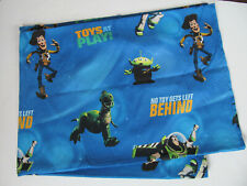 Disney Toy Story Twin Flat Bed Sheet Crafts Fabric Woody Rex Buzz Blue Pixar D