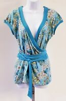 Ann Taylor Loft Womens Sz M Aqua Blue Green Crossover Popover Floral Print Top