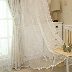 Embroidered Curtain Cloth Tulle Window Screen Blackout Organza Sheer Polyester