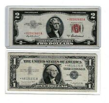 1953 UNITED STATES $2 STAR NOTE & 1957 $1 star note silver certificate, 1 each