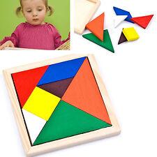 DIY Wooden IQ Game Jigsaw Intelligent Tangram Brain Teaser Puzzle Baby Kid Toy