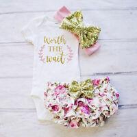 3PCS Cute Newborn Baby Girl Outfits Clothes Tops Romper+Tutu Shorts Pants Set US