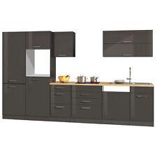 Küchenzeile 360 cm Einbauküche ohne Elektrogeräte Küchenblock hochglanz grau