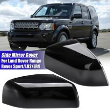 Pair Wing Side Mirror Cover Gloss Black For Land Rover Range Rover Sport LR2 LR4