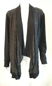 ADVOCADO grey/black stretch jersey open cardigan jacket ~ sz 22