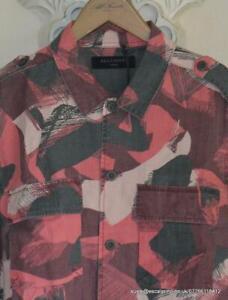 SALE/REDUCED BNWT Mens AllSaints Gunjin LSleeve Shirt Size S Red/Pink/Grey £128
