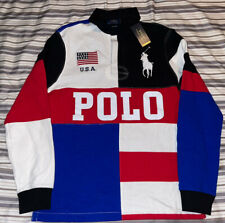 New listing Mens Polo Ralph Lauren Big Pony USA Flag Small Rugby Shirt Limited Edition New