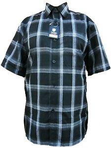 Yago Mens Plaid Short Sleeve Button Down Collar Shirt Loose Casual Fit