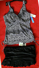 Christina Underwire Black/White Print Tankini Top Sz 14D, Black Skirt Btms sz 14