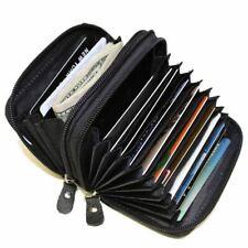 Marshal RFID Genuine Leather Credit Card Holder Accordion Wallet Black