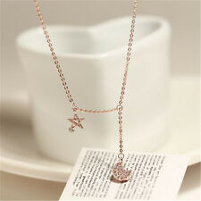 Hot New Fashion Sky Moon Charm Pendant 18K Rose Gold Necklace CT192
