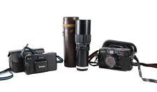 Lot of 3 35mm Film Cameras Canon AF35m Vivitar Tec35 & Aetna Tele Rodunar Lens