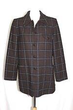 Harve Bernard - 12 (M/L) - Brown Plaid 100% Wool Coat w/ Suede Elbow Patches