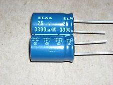 5 pcs Japan ELNA RE3 3300UF 25V Audio Capacitor 16X25mm 20% RE3-25V332M16