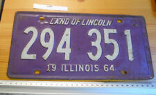 VINTAGE USA licence/license jour plate LAND OF LINCOLN Illinois 1964 No 294 351