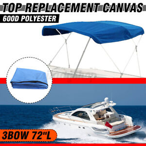 3-Bow Bimini Top Replacement Canvas Sun Cover Boat without Frame 600D Waterproof