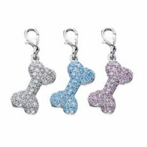 Little Gifts Bone Shaped Collar Tag Charm w Pave Crystals for Dog Pet Pup Blue