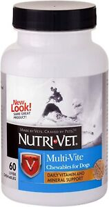 Nutri Vet Dog multi Vite Liver flavor 60 tab count daily vitamins support 1-7 yr