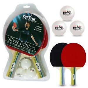 2 Professional Table Tennis Racket Two Paddle Ping Pong Bat + 3 Balls Bag Set UK