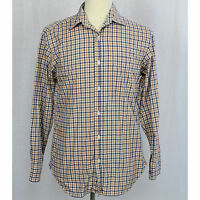 J. Crew Mens Checks Plaid Long Sleeve Button Up Shirt 100% Cotton Sz S Small EUC