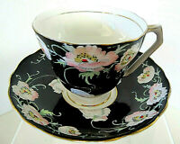 "HTF Lovely Radfords Fenton Bone China Black Footed ""Poppy"" Tea Cup/Saucer #8549"