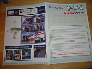 American Airlines Fokker F-100 Safety Card - REV.7/2000