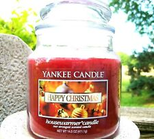 "Yankee Candle Retired ""HAPPY CHRISTMAS"" Medium 14.5 oz.~ WHITE LABEL ~ RARE~ NEW"