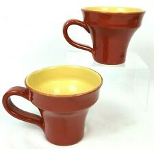 Pair Vietri Pottery Italy Cucina Fresca Coffee Mugs Cups Terra Cotta Red Yellow