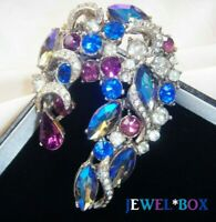 Exceptional SIGNED SPHINX VINTAGE Bi Colour CRYSTAL RHINESTONE BROOCH Gift Boxed