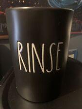 """Rae Dunn - RINSE - Black Ceramic Bathroom Cup - 4.5""""H x 3""""D"""