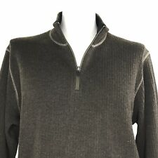 Royal Robbins Mens Pullover Sweater 1/4 Zip Wool Blend Knit Brown Large