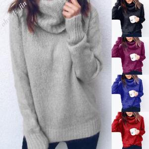 Damen Winter Warme Rollkragen Sweater Strickpullover Langarm Oberteile Tops Tee