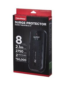 2 x CyberPower 8 Way Outlet Surge Protector Power Board USB 2 PACK TWIN PACK