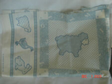 """New listing Vtg. Weilwood Industries 22"""" Fabric Panel Blue & White Animals Sewing Quilting"""