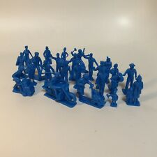 "Marx Toys PL-17BL ""Civilian Figures with Motorcycle (25pcs - Blue)"" 1:48 Plastic"
