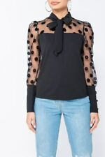 Women Polka Dot Pussy Bow Tie Blouse Sheer Long Sleeve Top Casual Loose Shirt