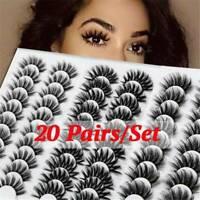 💕20 Pair 3D Natural Bushy Cross False Eyelashes Mink Hair Eye Lashes Black Mix
