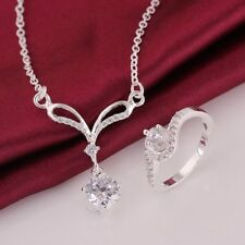 925Sterling Solid Silver Fashion Crystal Geometry Rings Necklace Jewelry Sets