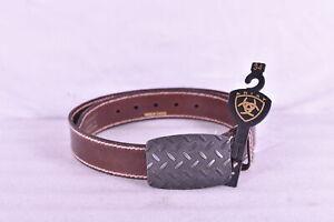 Men's Ariat Diamond Plate Buckle Western Smooth Leather Belt